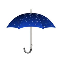 Umbrella in blue design with raindrops vector