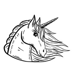 Unicorn head hand drawn isolated on white vector