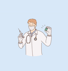 vaccination doctor and medicine concept vector image
