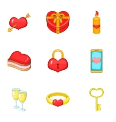 Valentine elements icons set cartoon style vector