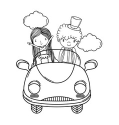 Wedding couple and car cute cartoon black and vector