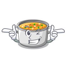 Wink cartoon chicken soup pot for dinner vector