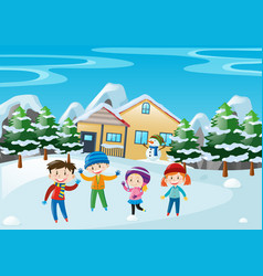 Winter scene with children standing in front of vector
