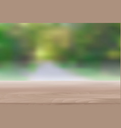 wood table top on abstract blur natural green vector image