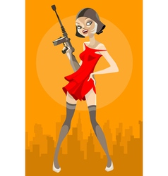 cartoon girl with a weapon vector image vector image