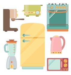 Kitchen appliances icons set kitchenware equipment vector image vector image
