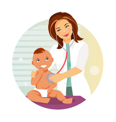 pediatrician and child vector image