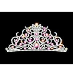 pink diadem feminine crown vector image
