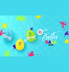 happy easter sale bannerbackground with fun vector image