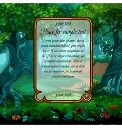 Landscape with magic tree and sample text vector image vector image