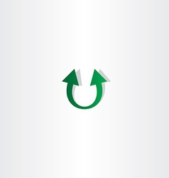 letter u arrow green logo vector image