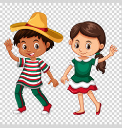 mexican boy and girl on transparent background vector image