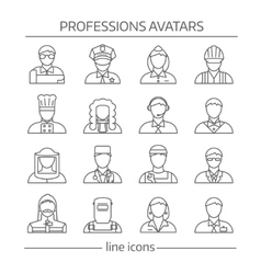 Professions Avatars Line Icon Set vector image vector image