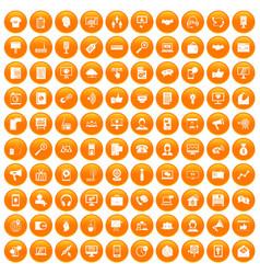 100 help desk icons set orange vector image