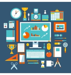 Flat design style modern icons set of office items vector image
