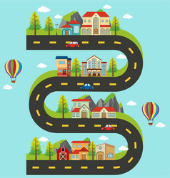 Roadmap with buildings and cars on the road vector
