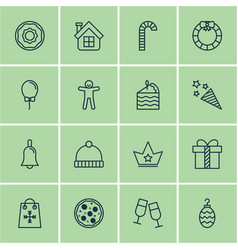 set of 16 new year icons includes christmas toy vector image