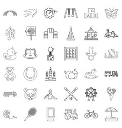 amusing icons set outline style vector image vector image