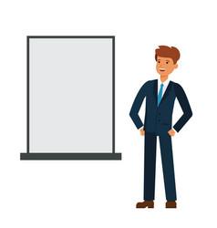 businessman looking at blank board cartoon flat vector image