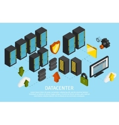 Datacenter Colored Poster vector image vector image