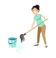 smiling woman washing floor vector image