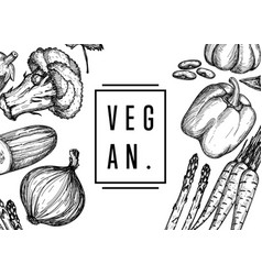vegan food hand drawn banner vector image