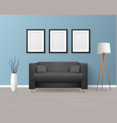 3d realistic render black sofa couch with vector image