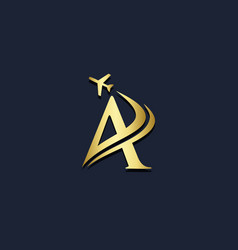 a letter airplane gold logo vector image