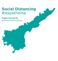 Andhra pradesh map with social distancing vector