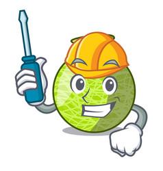 Automotive cartoon ripe melon fruit in the kitchen vector