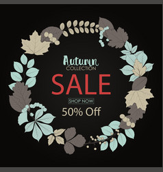 autumn sale banner with round frame leaves vector image