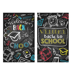 Back to school blackboard education poster vector