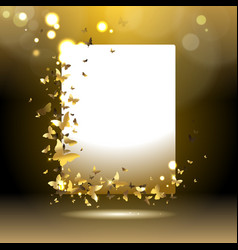 banner with golden butterflies vector image