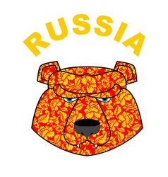 bear logo of Russia Traditional Russian ornament vector image