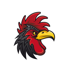 bird with cockscomb isolated black rooster vector image