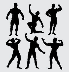Body building sport silhouette vector