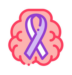 brain and health ribbon icon outline vector image