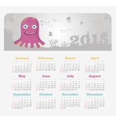Calendar 2015 year with octopus vector