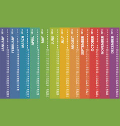 calendar 2018 with rainbow multicolored vertical vector image