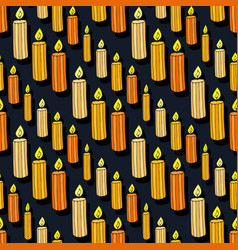 Candles seamless pattern doodle background vector