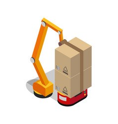 carton boxes set and special transportation robot vector image