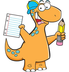 Cartoon Brontosaurus with a Pencil vector image