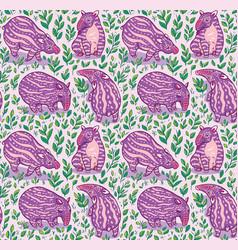 cartoon tapirs seamless pattern pink tapirs vector image