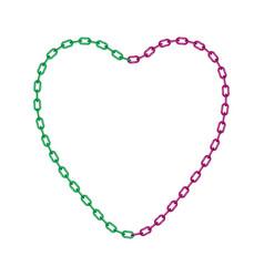 Chain in shape heart vector
