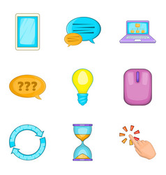 chat manager icons set cartoon style vector image