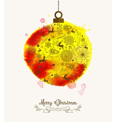 Christmas bauble watercolor vintage card vector