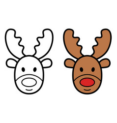 christmas deer icon on white background vector image