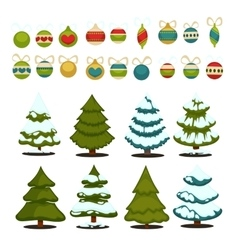 Christmas tree Set of christmas green trees and vector image