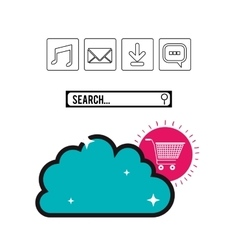 cloud storage and internet related icons image vector image