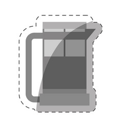 Coffee pot handle glass cut line vector